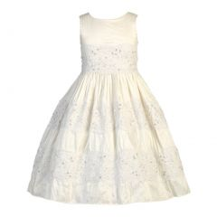 Lito Big Girls Antique White Silk Embroidered Tulle Lace Communion Dress 6-14