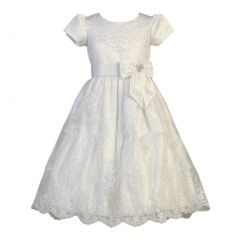 Little Girls White Corded Tulle Sequin Satin First Communion Dress 5-6