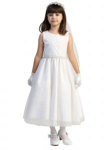 Lito Girls White Glitter Tulle Beaded Trim Plus Size Communion Dress 10.5-20.5