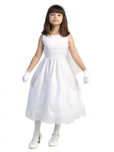 Lito Little Girls White Corded Sequin Embroidery Tulle Communion Dress 6