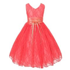 Little Girls Coral Flower Embellished Waistband Lace Flower Girl Dress 2-6