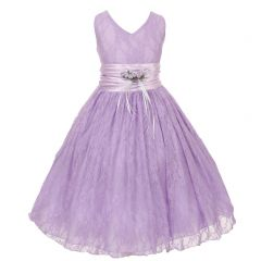 Big Girls Lilac Flower Embellished Waistband Lace Flower Girl Dress 8-12