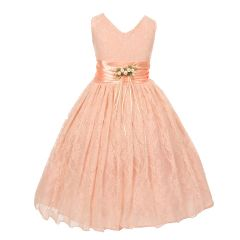 Little Girls Peach Flower Embellished Waistband Lace Flower Girl Dress 2-6