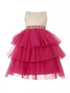 Little Girls Ivory Fuchsia Scalloped Stone Trim Tiered Flower Girl Dress 2-6