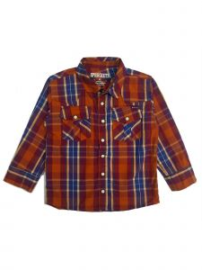Sprockets Baby Boys Orange Plaid Casual Western Long Sleeve Shirt 12-24M