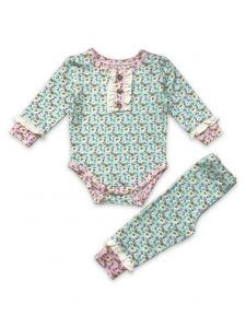 Mustard Pie Baby Girls Blue Rustic Peony Bodysuit Pant Chloe 2 Pc Set NB-24M
