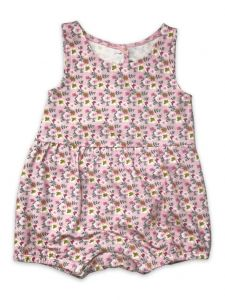Mustard Pie Baby Girls Pink Peony Floral Print Laney Bubble Bodysuit NB-24M