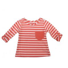 Sprockets Little Girls Coral White Stripe Rolled Up Sleeves Shirt 4-6X