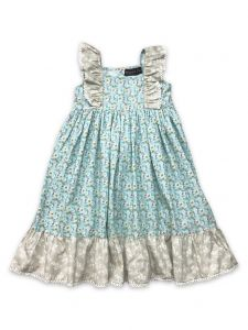 Mustard Pie Little Girls Aqua Floral Print Cotton Tangerine Dress 2T-6X