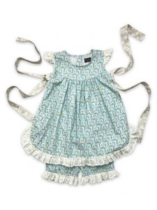 Mustard Pie Little Girls Aqua Floral Print Eyelet Trim 2 Pc Eloise Set 2T-6X