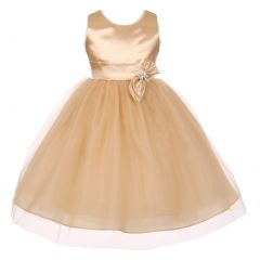 Big Girls Champagne Slant Bow Brooch Attached Junior Bridesmaid Dress 8-16