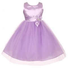 Big Girls Lilac Slant Bow Brooch Attached Shiny Junior Bridesmaid Dress 8-16