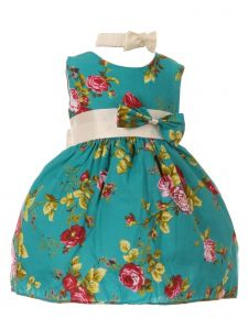 Baby Girls Teal Red Rose Print Bow Attached Stylish Flower Girl Dress 3-24M