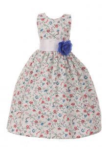 Big Girls White Blue Red Floral Print Sash Easter Junior Bridesmaid Dress 8-16