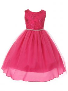Big Girls Fuchsia Sequin Applique Rhinestone Trim Junior Bridesmaid Dress 8-16