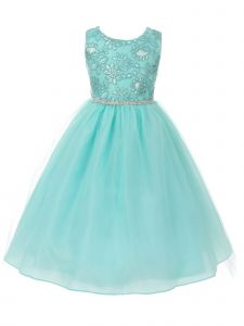 Big Girls Cyan Sequin Applique Rhinestone Trim Junior Bridesmaid Dress 8-16