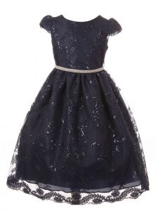 Little Girls Navy Sequin Embroidered Pearl Trim Adorned Christmas Dress 2-6