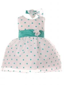 Baby Girls Jade Polka Dot Organza Flocked Headband Flower Girl Dress 3-24M
