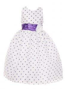 Big Girls Purple Organza Flocked Polka Dot Elegant Junior Bridesmaid Dress 8-16