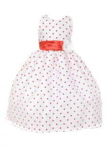 Little Girls Red Organza Flocked Polka Dot Elegant Flower Girl Dress 2-6