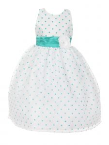 Little Girls Teal Organza Flocked Polka Dot Elegant Flower Girl Dress 2-6