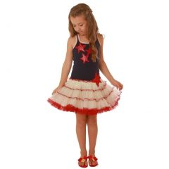 Ooh! La La! Couture Big Girls Blue Red Sequin Star Applique Dress 6X-14