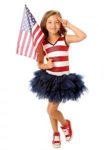 Ooh! La La! Couture Big Girls Red Blue Sequin Stripe Patriotic Dress 7-10