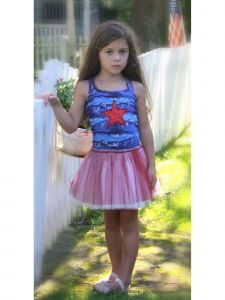 Ooh! La La! Couture Big Girls Navy Red Glitter Star Patriotic Dress 7-10