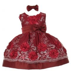 Baby Girls Burgundy Sequin Floral Embroidery Flower Girl Christmas dress 3-24M
