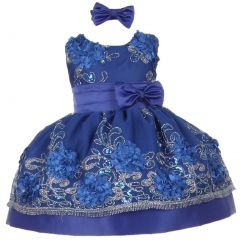 Baby Girls Royal Blue Sequin Floral Embroidery Flower Girl Christmas Dress 3-24M