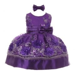 Baby Girls Purple Sequin Floral Embroidered Headband Flower Girl Dress 3-24M