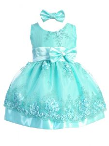 Shanil Baby Girls Multi Color Floral Lace Satin Bow Flower Girl Dress 6-24M