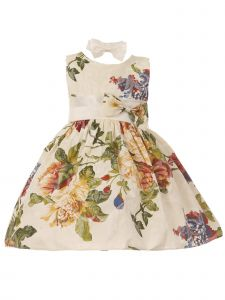 Baby Girls Multi Color Floral Print Sash Bow Easter Flower Girl Dress 3M