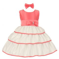 Little Girls Coral Bow Rhinestone Headband Special Occasion Dress 2-4T