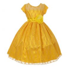 Big Girls Dark Yellow Lace Covered Floral Accent Junior Bridesmaid Dress 8-18