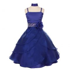 Big Girls Royal Blue Cascade Overlaid Studded Waist Junior Bridesmaid Dress 8-14