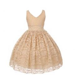 Big Girls Champagne Floral Lace Pearl Accented Junior Bridesmaid Dress 8-18