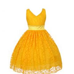 Big Girls Yellow Floral Lace Pearl Accented Junior Bridesmaid Dress 8-18