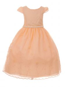 Little Girls Peach Embroidered Organza Cap Sleeve Elegant Easter Dress 2-6