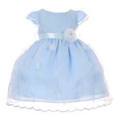 Baby Girls Blue Embroidered Satin Sash Flower Cap Sleeve Easter Dress 3-24M