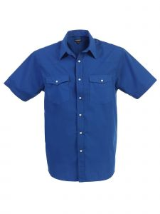 Gioberti Big Boys Royal Blue Solid Color Short Sleeve Western Shirt 8-18