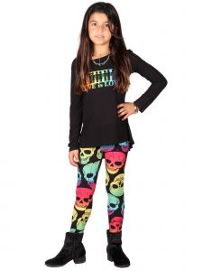 Lori Jane Big Girls Multi Love Is Love Skull Tunic Leggings Set 6-16