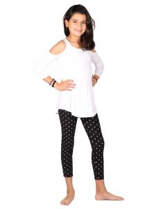 Lori Jane Big Girls Multi Cold Shoulder Polka Dot Tunic Leggings Set 6-16