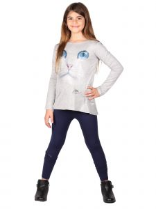 Lori Jane Big Girls Multi Color Cat Print Long Sleeve Tunic Leggings Set 6-16