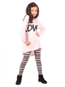 Lori Jane Big Girls Multi Sequin Lace Love Applique Tunic Leggings Set 6-16
