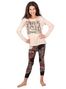 Big Girls Multi USA Home Of The Brave Flower Print Tunic Leggings Set 6-16