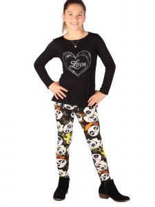 Lori Jane Big Girls Multi Heart Love Panda Bear Print Tunic Leggings Set 6-16