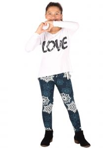 Lori Jane Big Girls Multi Sequin Lace Love Abstract Tunic Leggings Set 6-16