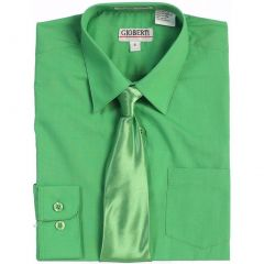 Gioberti Little Boys Green Solid Color Shirt Tie Formal 2 Piece Set 2T-7