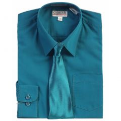 Gioberti Little Boys Green Teal Solid Color Shirt Tie Formal 2 Piece Set 3T